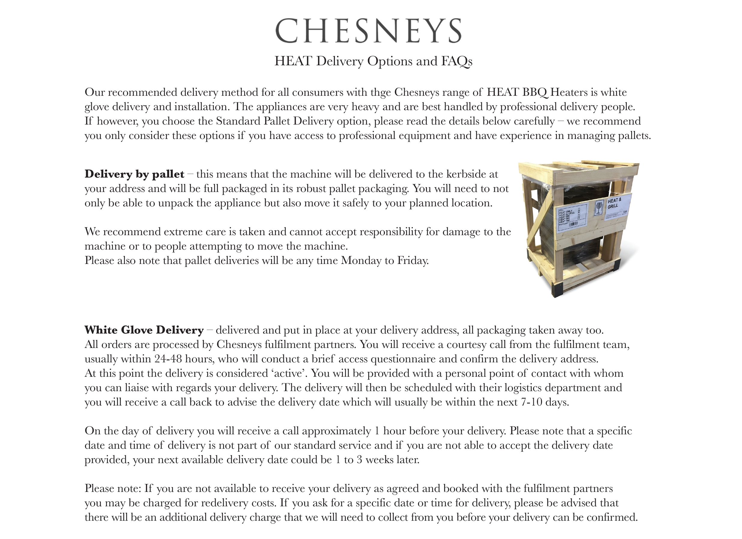 Chesneys HEAT BBQ Heater Delivery Information