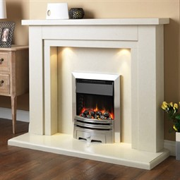 Pureglow Hanley Marble Fireplace Suite with Electric Fire ...