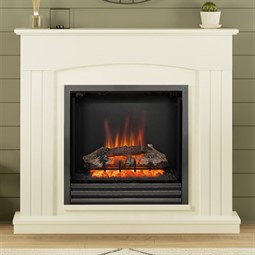 Be Modern Linmere Almond Stone Electric Fireplace Suite