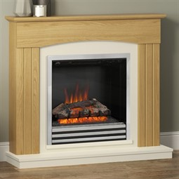 Be Modern Linmere Natural Oak Electric Fireplace Suite
