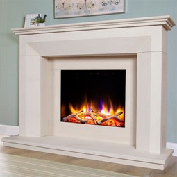 Celsi Ultiflame VR Angelo Limestone Electric Fireplace Suite