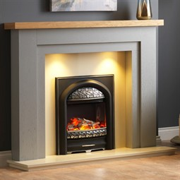 Pureglow Hanley Painted Fireplace - Grey with Oak Shelf