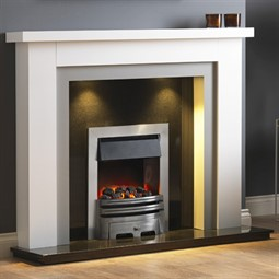 Pureglow Hanley Painted Fireplace - White with Grey Detail