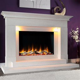 Celsi Ultiflame VR Aleesia Illumia Limestone Electric Fireplace Suite