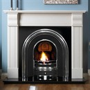 Pureglow Knighton Perla Marble Fireplace Package (with Cast & Fire)