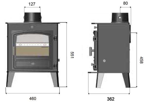 Avalon Compact 5 Multi-Fuel Stove Sizes