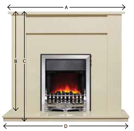 Be Modern Allegra Marble Fireplace Suite Sizes