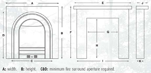 Cast Tec Tulip Fireplace Package Dimensions