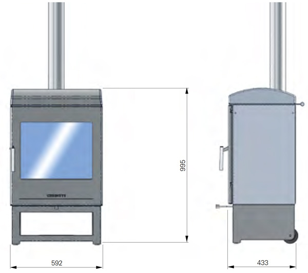 Chesneys Clean Burn Outdoor Wood Burning Stove Dimensions