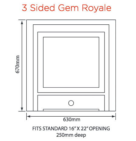 Crystal Fires Gem Royale 3-Sided Gas Fire Sizes
