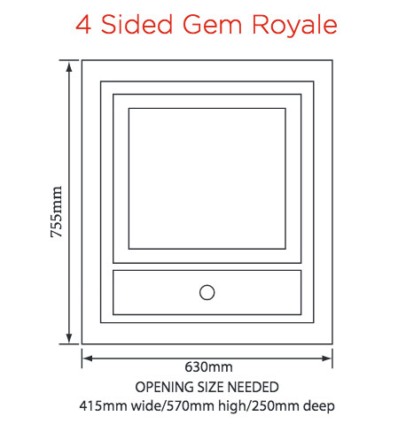 Crystal Fires Gem Royale 4 Sided Wall Mounted Gas Fire Sizes