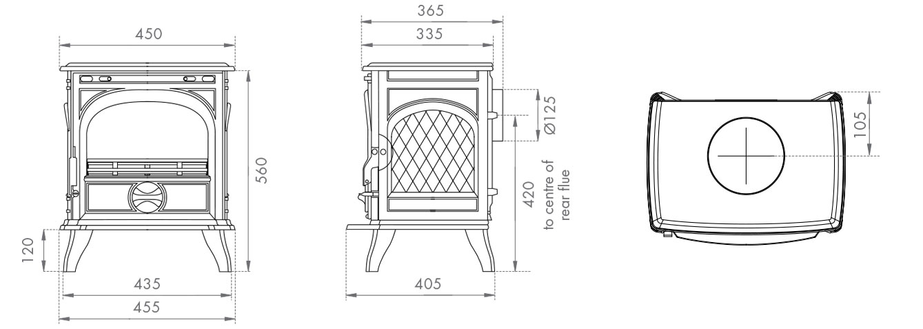 Dovre 250 Multifuel Stove Sizes