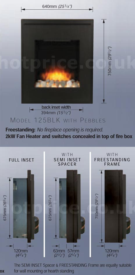 Creative Fires Rocca Electric Fire Dimesnions