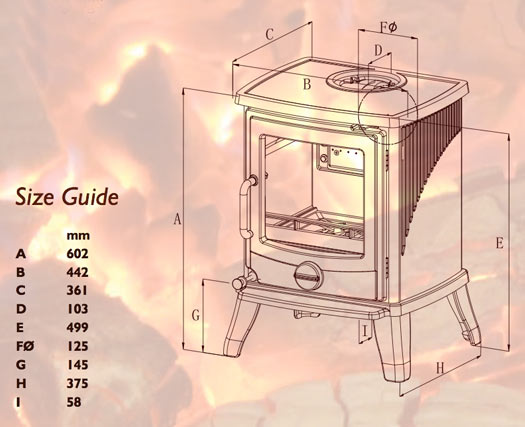 Newman Fireplaces Vista Perfetto SE Wood Burning Stove Sizes