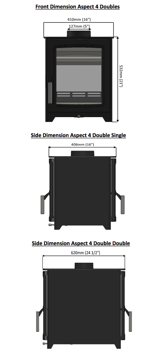 Parkray Aspect 4 Double Sided Sizes