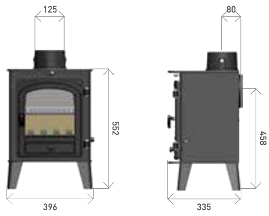 Parkray Consort 4 Wood Burning / Multi-Fuel Stove Dimensions