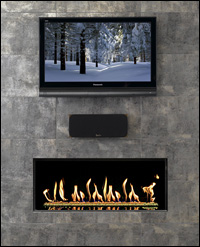 Fireplace below TV